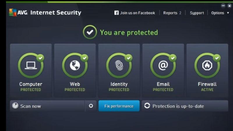 AVG antivirus dashboard